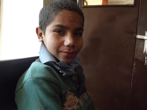 Nassim, street kid who is being sponsored by the APV which means he can attend school rather than work the streets