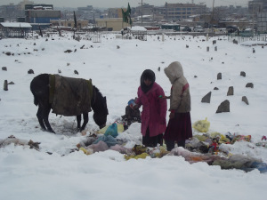 Young girls collecting scraps of rubbish in a Kabul cemetery