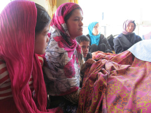Bereaved Afghan Mother with Beth & Mary