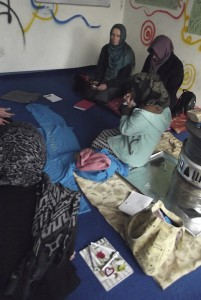 Henrietta talking to young women at the Borderfree Centre